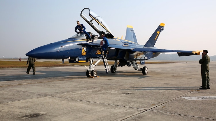 Members of the U.S. Navy Flight Demonstration Squadron, known as the Blue Angels, arrive aboard MCAS Beaufort, Nov. 16. The squadron is visiting Fightertown to plan and coordinate with air station leaders for the upcoming 2017 MCAS Beaufort Air Show. The mission of the Blue Angels is to showcase the pride and professionalism of the Navy and Marine Corps by inspiring a culture of excellence and service to country through flight demonstrations and community outreach.