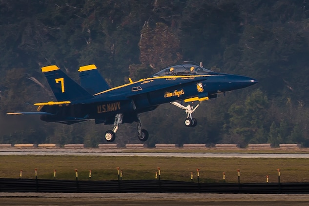 An F/A-18 Hornet lands aboard MCAS Beaufort Nov. 16. The F-18 is with the U.S. Navy Flight Demonstration Squadron Blue Angels. The squadron is visiting Fightertown to plan and coordinate with air station leaders for the upcoming 2017 MCAS Beaufort Air Show.