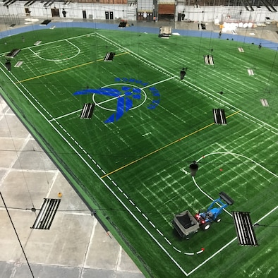 The Pride Hangar received a brand new sports field during its recent renovations at Ellsworth Air Force Base S.D., Nov. 21, 2016. This specific type of new turf system has also been installed at other Air Force facilities, including the Air Force Academy, and locally at the South Dakota School of Mines and Technology football field. (Courtesy photo)