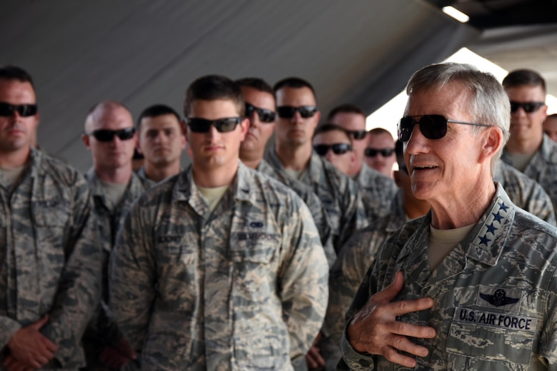 Gen. Hawk Carlisle, commander of Air Combat Command, visits with 379th Air Expeditionary Wing Airmen Nov. 22, 2016, at Al Udeid Air Base, Qatar. Carlisle is visiting bases in the U.S. Central Command area of responsibility to engage with Airmen and thank them for their service. (U.S. Air Force photo by Senior Airman Cynthia A. Innocenti)