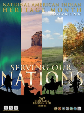 "The Defense Equal Opportunity Management Institute declared the theme for the 2016 National American Indian Heritage Month, celebrated in November, as ""Serving Our Nations."" (courtesy graphic)"