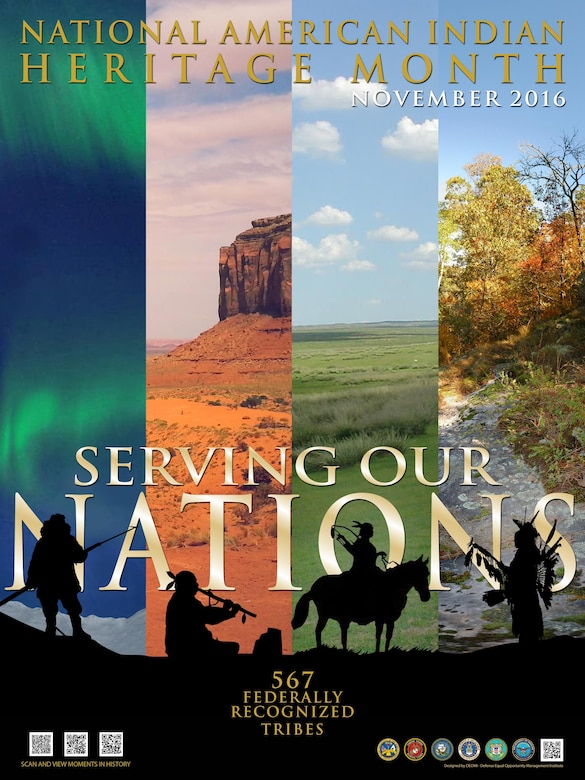 """The Defense Equal Opportunity Management Institute declared the theme for the 2016 National American Indian Heritage Month, celebrated in November, as """"Serving Our Nations."""" (courtesy graphic)"""