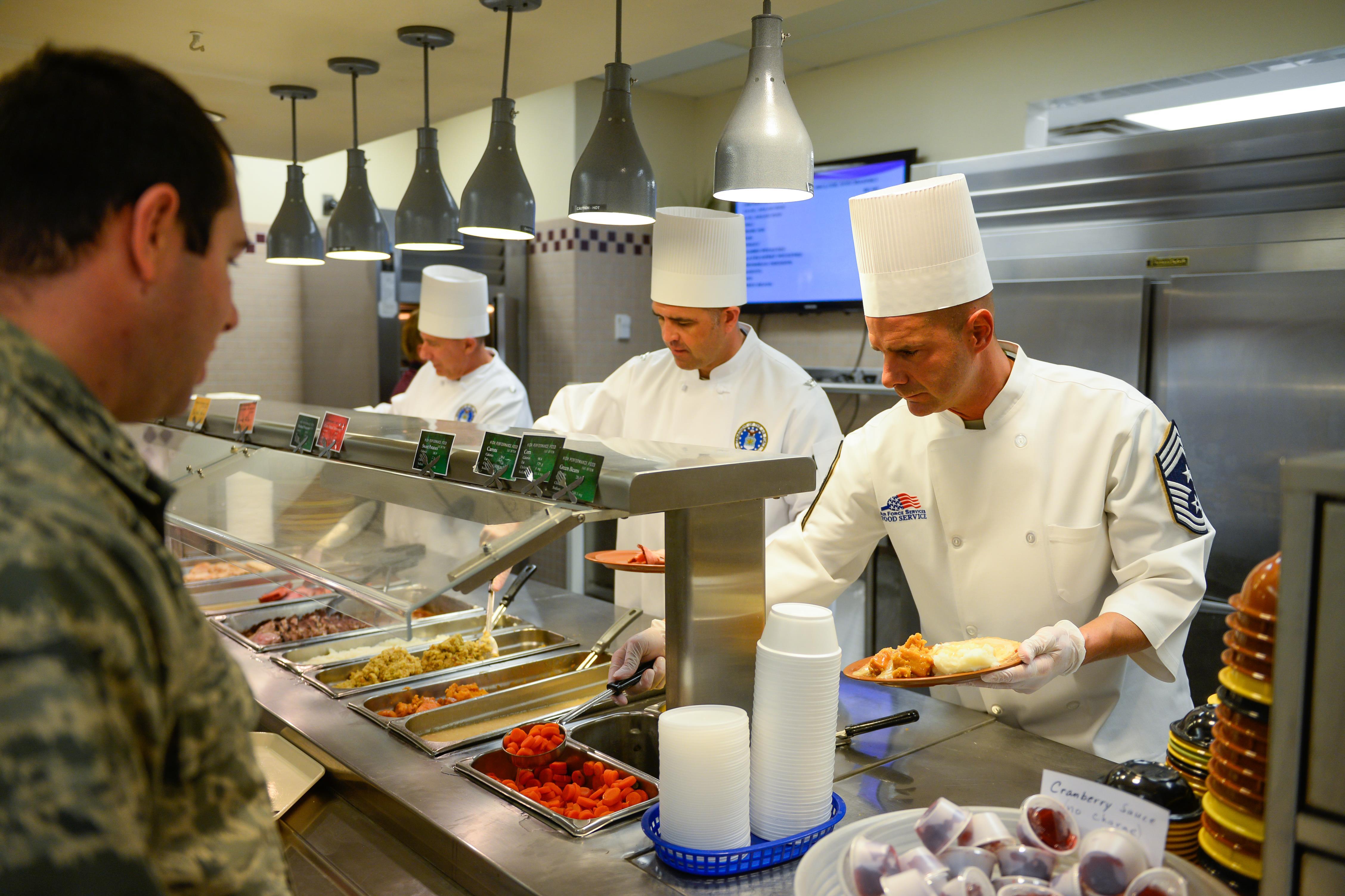 Senior leaders serve thanksgiving lunch schriever air for What to serve for thanksgiving lunch