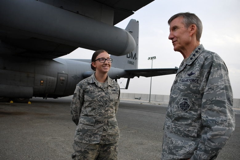 U.S. Air Force Gen. Hawk Carlisle, commander of Air Combat Command, talks with Senior Airman Colleen Sweeney-Marple, 386th Expeditionary Aircraft Maintenance Squadron assistant dedicated crew chief, Nov. 23, 2016 at an undisclosed location in Southwest Asia. During his visit, Carlisle praised the wing's efforts providing airlift; electronic warfare; and intelligence, surveillance and reconnaissance capabilities in the fight against the Islamic State of Iraq and the Levant. (U.S. Air Force photo/Senior Airman Andrew Park)