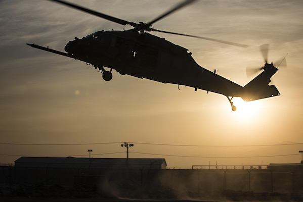 An 83rd Expeditionary Rescue Squadron HH-60 Pave Hawk lands to extract patients during a mass casualty exercise held Nov. 17, 2016 at Bagram Airfield, Afghanistan. The drill allowed pararescuemen, combat rescue officers and helicopter crews to rehearse their response to common scenarios encountered in theater. (U.S. Air Force photo by Staff Sgt. Katherine Spessa)
