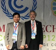 Dr. Phu Nguyen, Assistant Adjunct Professor, University California at Irvine, CHRS and IWR and ICIWaRM Director, Bob Pietrowsky at COP22, Marrakech, Morocco
