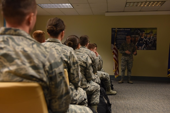 Senior Airman Justin Wright, 81st Medical Operations Squadron mental health technician, briefs 334th Training Squadron students on the importance of the Airman Comprehensive Fitness pillars of mental, physical, spiritual and social resiliency during a mental health briefing at Cody Hall Nov. 22, 2016, on Keesler Air Force Base, Miss. Leadership at the 334th TRS, with guidance from medical professionals, implemented the mental health briefings tailored for air traffic and combat control students going through the courses at Keesler to help keep them resilient through the rigors of their course load. (U.S. Air Force photo by Senior Airman Holly Mansfield)