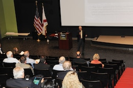 Michael Norton, chief of the Energy Implementation Branch at Huntsville Center, discusses the REM workshop agenda with more than 30 resource efficiency managers and Huntsville Center customers during the annual event Nov. 17-18 at the Davidson Center for Space Exploration.