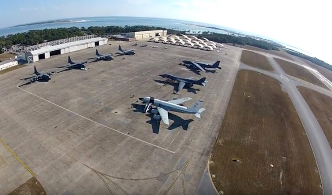 A bird's eye view of the static display at the 479th Flying Training Group's Undergraduate Combat Systems Officer Training Career Day here Nov. 18. More than 20 members of the 55th Wing supported the event. (Photo courtesy of the 479th FTG.)