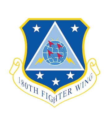 The origins of the 180th Fighter Wing's organizational emblem date back to June 22, 1964 when the unit held a group wide design contest in search of a design that could be used to symbolically represent the newly formed 180th Tactical Fighter Group. The emblem was approved and became recognized federally on October 15, 1962. 