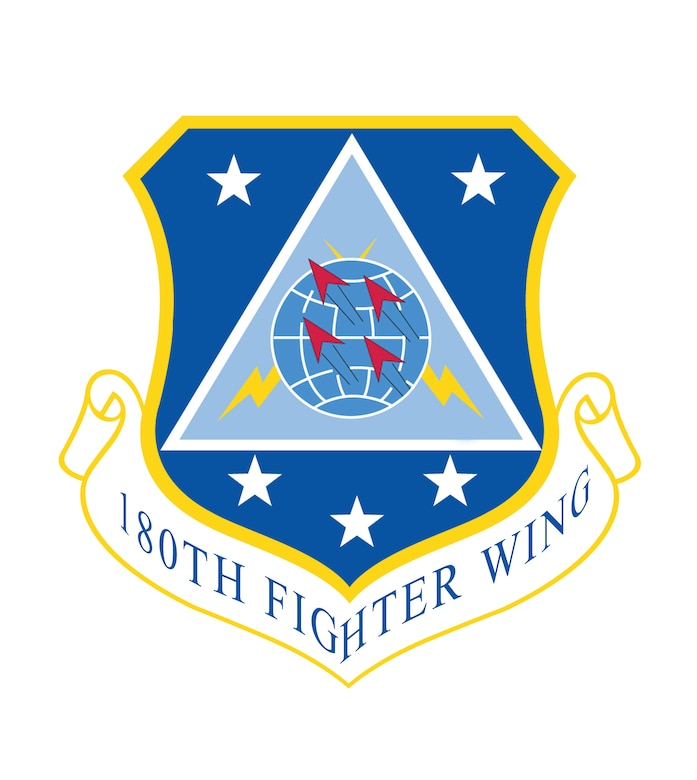The origins of the 180th Fighter Wing's organizational emblem date back to June 22, 1964 when the unit held a group wide design contest in search of a design that could be used to symbolically represent the newly formed 180th Tactical Fighter Group. The emblem was approved and became recognized federally on October 15, 1962.   In accordance with Air Force guidance of the time, the design for organizational emblems had to meet several requirements before being approved by the National Guard Bureau. To be considered for approval, all ideas expressed within the design had to be original, simple, and in good taste. The emblem could not imitate designs of other organizations, portray specific types of equipment or display geographical locations.   Another requirement is that each individual symbol in the design have some significance to the organization. The significance as written in 1964 is as follows:   The four dart like figures symbolize the flying mission of the unit; the formation in which they are placed denotes the teamwork and coordination which is necessary within the group to successfully complete all facets of the assigned mission.   The globe symbolizes the requirement levied on the group and its capability to rapidly deploy to any location on earth in accordance with the Air Force's concept of global disturbances.   The yellow lightening streak symbolizes the speed and power of the Group aircraft and their capability to destroy those who would wage war or otherwise threaten the fundamental concepts for all mankind. It is also symbolic of the Tactical Air Commander and the Air Force Strike Command whose missions, like lightning can bring quick devastation to those who threaten our way of life.   The black triangle symbolizes the 180th designation of this Group as it is the only geometric figure whose interior angles equal 180 degrees. Newly formed units within the group will have individual pictorial emblems based on the triangle.   The ultra