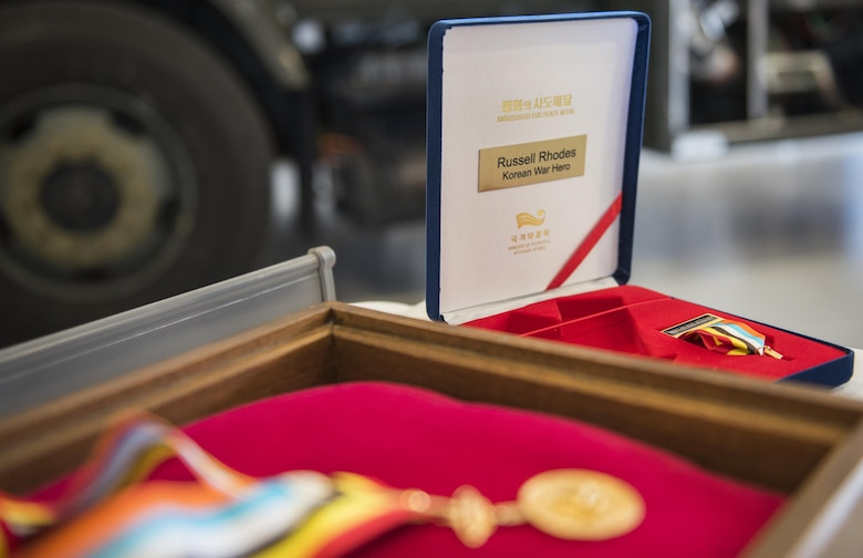 The Korean Ambassador for Peace Medal sits in its case prior to a ceremony at Eglin Air Force Base, Fla., Nov. 15, 2016. Retired Chief Master Sgt. Russell Rhodes received the honor from the South Korean government via his nephew Maj. Gen. Scott Vander Hamm, the Air Force assistant deputy chief of staff, operations. The ceremony was held at the base's fuels flight, where Rhodes was stationed during his Air Force career as a fuel truck driver. (U.S. Air Force photo/Samuel King Jr.)