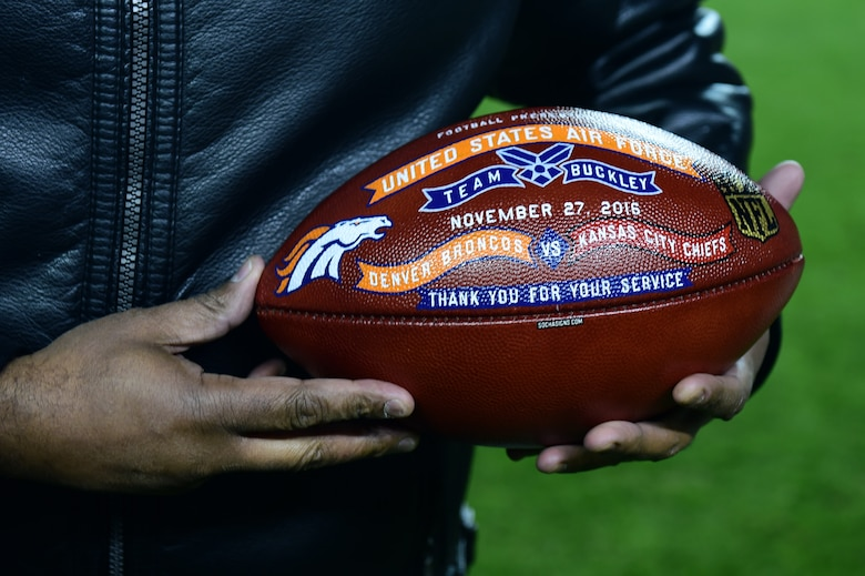 The Denver Broncos held a Salute to Service football game Nov. 27, 2016, at Sports Authority Field at Mile High in Denver. The Broncos presented each military branch with a commemorative football during a halftime ceremony. (U.S. Air Force photo by Airman 1st Class Gabrielle Spradling/Released)