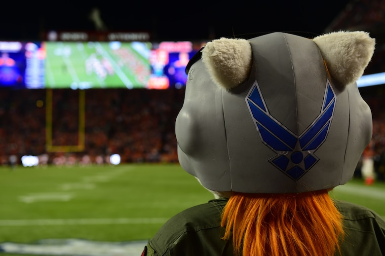 Miles, the Denver Broncos mascot, watches the Broncos play the Kansas City Chiefs Nov. 27, 2016, during a Denver Broncos Salute to Service game Nov. 27, 2016, at Sports Authority Field at Mile High in Denver. The Denver Broncos participate in the Salute to Service campaign to honor veterans and active duty military members. (U.S. Air Force photo by Airman 1st Class Gabrielle Spradling/Released)