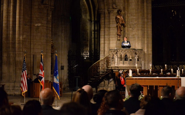 U.S. Air Force Chaplain (Maj. Gen.) Dondi E. Costin, U.S. Air Force chief of chaplains, leads a Thanksgiving service Nov. 23, 2016, at Ely Cathedral in Ely, England. Costin was stationed at RAF Mildenhall, England, in 1998, and found joy in returning to the historical cathedral as the service's guest speaker. (U.S. Air Force photo by Staff Sgt. Kate Thornton)