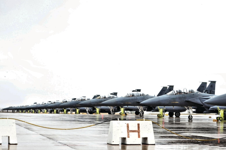 Fourteen F-15 Strike Eagle aircraft hold the line, ready to depart to Seymour-Johnson Air Force Base, North Carolina from Morón Air Base, Spain, Nov. 10, 2016. The aircraft were returning to their home station after a six-month deployment in the Middle East. (U.S. Air Force photo by Capt. Jose A. Quintanilla)