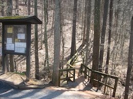 Entrance to Vineyard Mountain Trail on Allatoona Lake.
