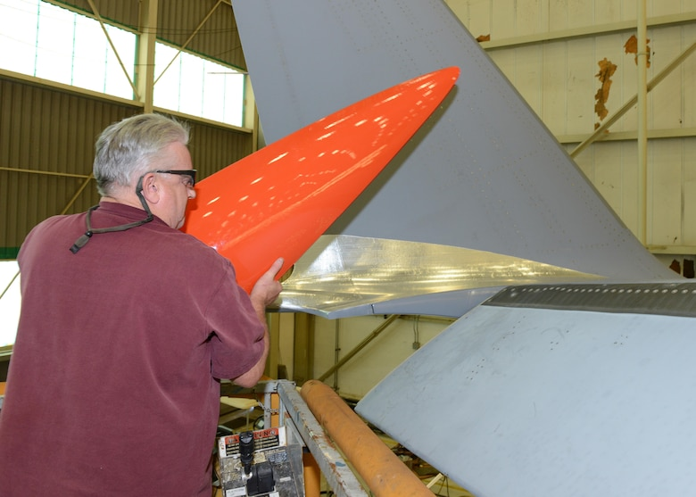 For phase five of C-17 Drag Reduction testing, two fairings will be placed on each winglet. One winglet fairing is located at the wing to winglet transition (shown) and the other fairing is located on the upper inboard side of the winglet. The winglet fairings will be added to the six wing pylon fairings and 12 aft fuselage microvanes of the aircraft used in phase four tests. All the test articles are 3-D printed by Lockheed Martin and bonded to the aircraft by Boeing contractors. (U.S. Air Force photo by Kenji Thuloweit)