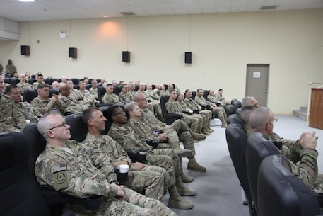 Soldiers of the 451st Expeditionary Sustainment Command attend a town hall meeting held by Army Reserve Maj. Gen. Mark W. Palzer, commanding general of the 79th Sustainment Support Command, and Brig. General Bruce E. Hackett, commanding general of the 451st ESC, Nov. 28, 2016 at Camp Arifjan, Kuwait.