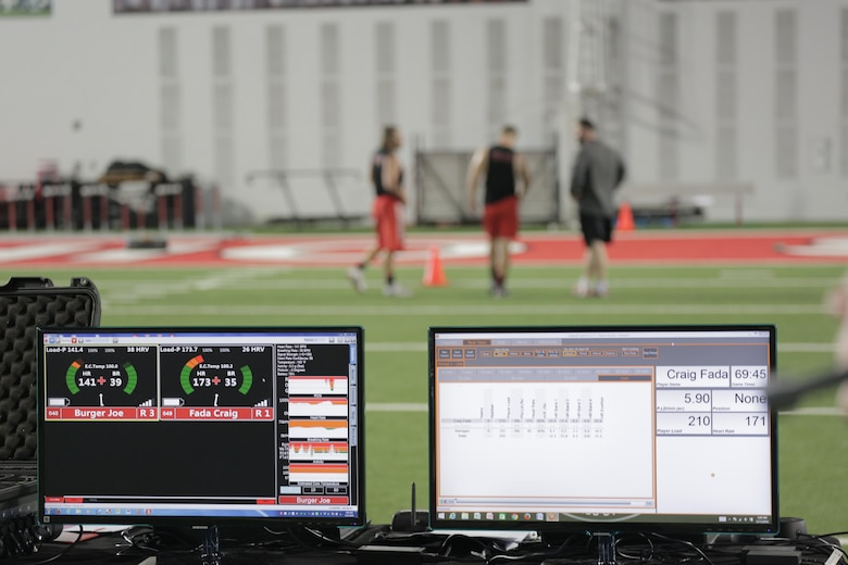 Real-time performance monitoring technologies is streaming physiological data during training at the Ohio State University. This research was done as part of a Cooperative Research and Development Agreement (CRADA) between the 711th Human Performance Wing at Wright-Patterson Air Force Base, Ohio and the Ohio State University. The collected information results in a daily report for measuring stress and recovery states and determining the future workloads and specific recovery modalities to help athletes and ultimately warfighters.  The data collected for personalized recovery are based off of real-time exertion, daily readiness and heart rate variability (HRV) technology.  (Photo courtesy of the Ohio State University)