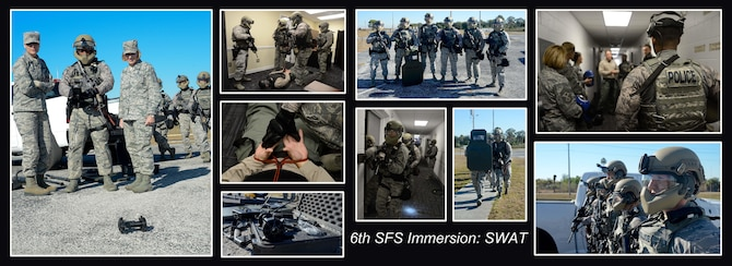 Col. April Vogel, commander of the 6th Air Mobility Wing (AMW), and Chief Master Sgt. Melanie Noel, command chief of the 6th AMW, visited the 6th Security Forces Squadron special weapons and tactical (SWAT) team during an immersion, Nov. 21, 2016 at MacDill Air Force Base, Fla. During the visit, Vogel and Noel received a brief on the mission of the SWAT team and experience first-hand training. (U.S. Air Force photo layout by Senior Airman Jenay Randolph)