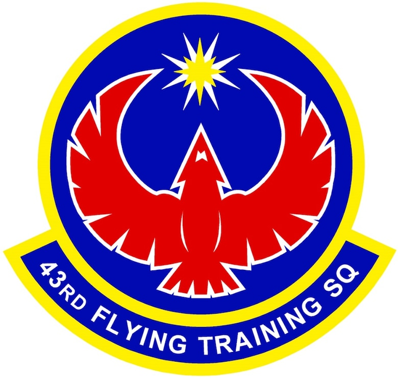 43rd Flying Training Squadron (AFRC) Emblem -- In accordance with Chapter 3 of AFI 84-105, commercial reproduction of this emblem is NOT permitted without the permission of the proponent organizational/unit commander.