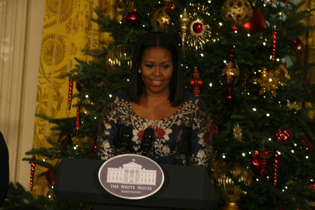 First Lady Michele Obama speaks to nearly 200 military families in the White House East Room during the eighth annual military family preview of White House holiday décor, Nov. 29, 2016. DoD photo by Terri Moon Cronk