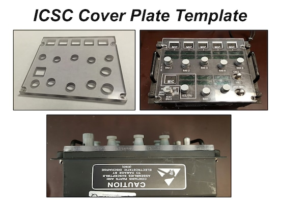The Inter-Communication Set Controller cover plate, is a sheet of polycarbonate material that fits over the front panel of the Inter-Communication Set Controller. The ICSC cover plate is used to protect the ICSC front panels fragile glass displays and control knobs against seatbelts, aircrew iPads, boots, oxygen masks, aircrew and maintenance personnel, and any other item that can damage it. If approved for use, the ICSC cover plate could save $19,000 in potential ICSC front panel damages and replacements. (U.S Air Force graphic/Senior Airman Divine Cox)