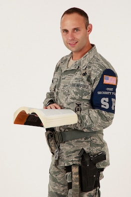 Master Sgt. Shaun West is a flight chief with the 127th Security Forces Squadron at Selfridge Air National Guard Base. West also holds a doctorate degree in behavioral health. In addition to his duties at Selfridge, he is an adjunct professor with Arizona State University's online graduate studies program. (U.S. Air National Guard photo by Terry Atwell)