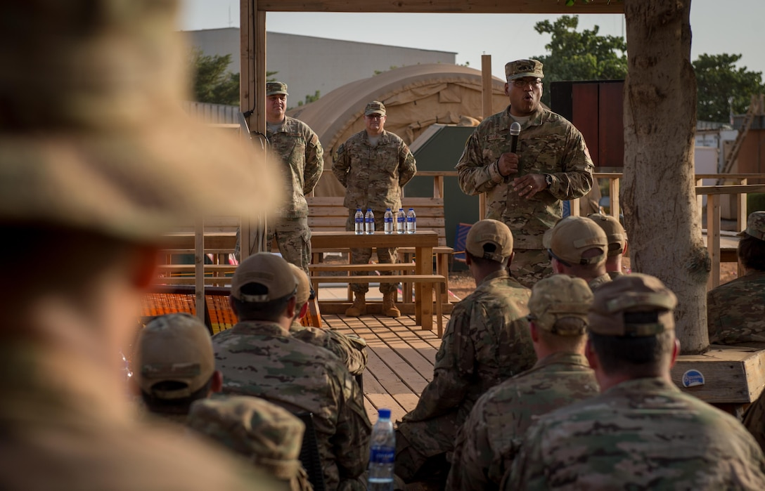 Lt. Gen. Richard Clark, 17th Expeditionary Air Force commander, speaks to Airmen from 768th Expeditionary Air Base Squadron during an all call at Air Base 101, Niamey, Niger, Nov. 23, 2016. During a three day trip, Clark visited Airmen in Europe and Africa who support the Air Force's intelligence, surveillance and reconnaissance mission. This was Clark's first visit to NAS Sigonella, Niamey and Agadez as 17th Expeditionary Air Force commander. (U.S. Air Force photo by Tech. Sgt. Ryan Crane)