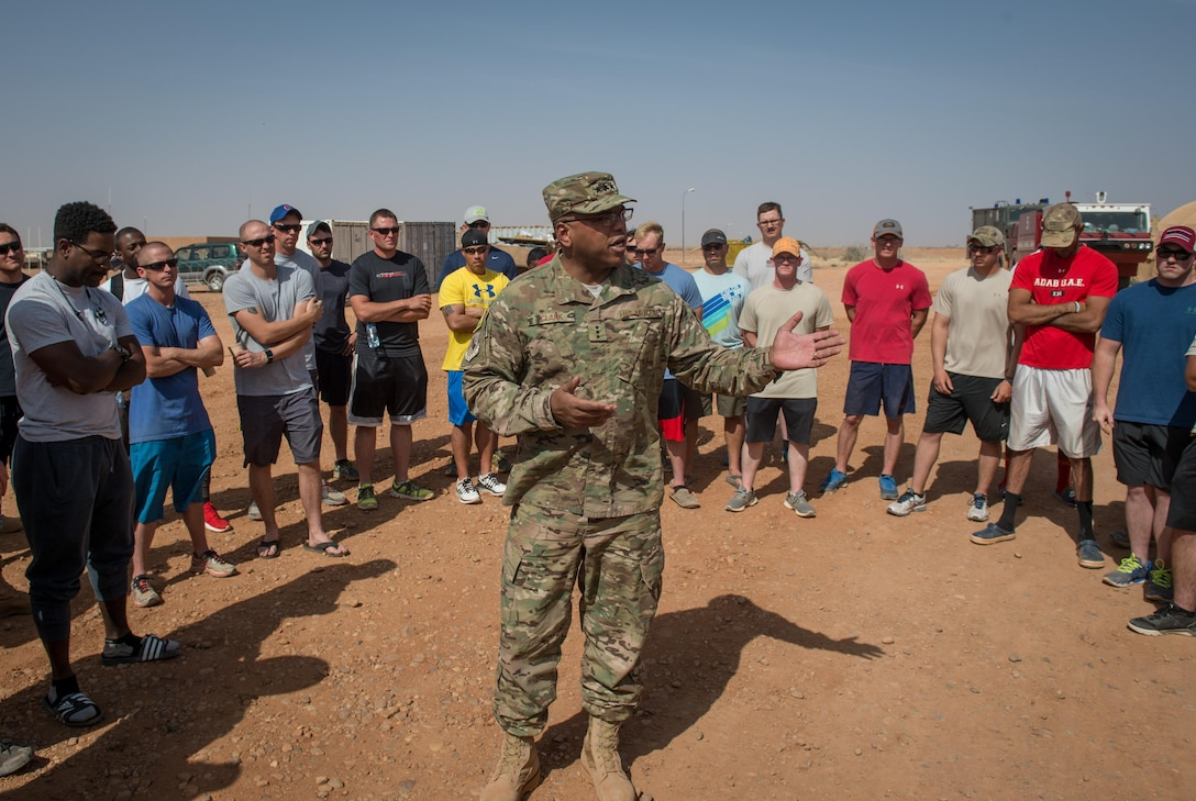 Lt. Gen. Richard Clark, 17th Expeditionary Air Force commander, speaks to Airmen assigned the 724th Expeditionary Air Base Squadron at Air Base 201 in Agadez, Niger, during a visit Nov. 24, 2016. During a three day trip, Clark visited Airmen in Europe and Africa who support the Air Force's intelligence, surveillance and reconnaissance mission. This was Clark's first visit to NAS Sigonella, Niamey and Agadez as 3rd Air Force commander. (U.S. Air Force photo by Tech. Sgt. Ryan Crane)
