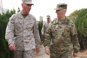 Marine Corps Gen. Joe Dunford, chairman of the Joint Chiefs of Staff, left, and Army Command Sgt. Maj. John W. Troxell, senior enlisted advisor to the chairman, in Erbil, Iraq, Nov. 10, 2016. DoD photo by D. Myles Cullen