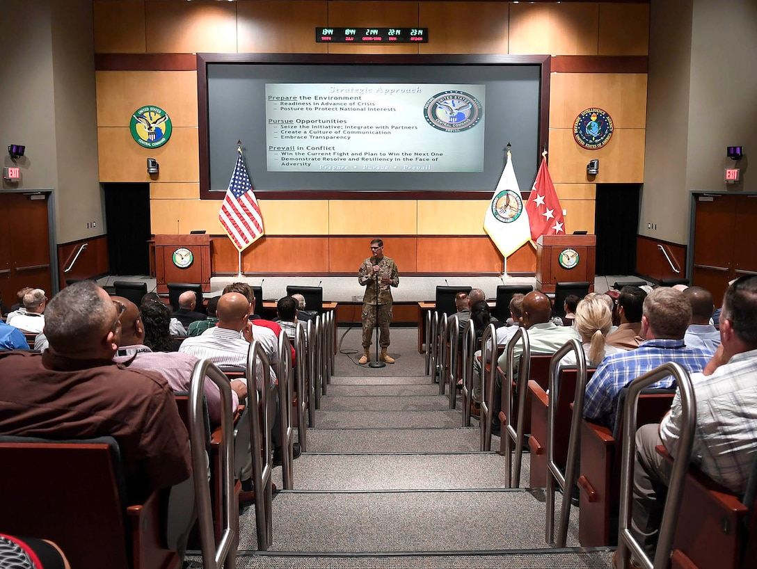 MACDILL AFB (Nov. 16, 2016) - U.S. Army General Joseph Votel, commander, U.S. Central Command meets with U.S. Air Force civilian employees to provide an overview of the CENTCOM vision, the current mission, and strategic approach during a town hall syle meeting. (U.S. Air Force photo by Tsgt Dana Flamer)