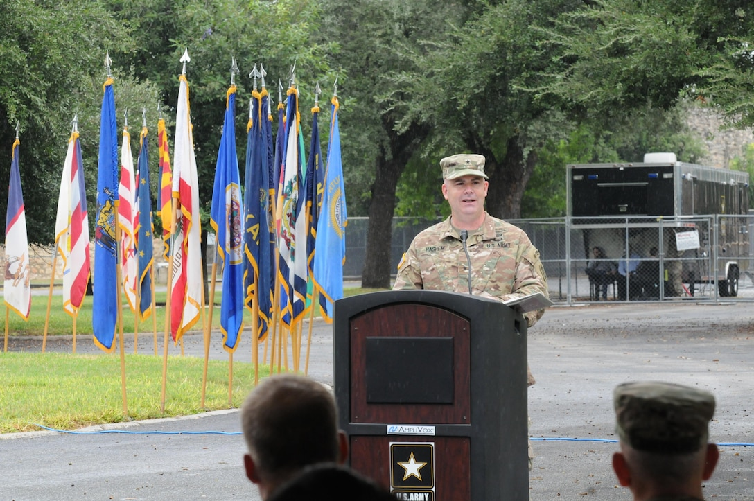U.S. Army North (Fifth Army) welcomed Brig. Gen. John B. Hashem and his family to Fort Sam Houston and San Antonio at a welcoming ceremony held at the historic quadrangle, November 7. Hashem assumes responsibility as the Deputy Commanding General - Reserve Affairs and Director, Army Reserve Engagement Cell for Army North. He most recently served as the Special Assistant to the Chief of Army Reserve, Washington, D.C. The Army North AREC serves as a conduit to employ Army Reserve capabilities in support of Army North's operational requirements.