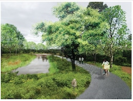 This figure shows an architectural rendering of one of the recreation / flood routing areas.