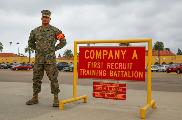 Lance Cpl. Justyn K. Jones, Alpha Company, 1st Recruit Training Battalion, stands outside his squad bay at Marine Corps Recruit Depot San Diego, Nov. 16. Following recruit training, Jones will report to the School of Infantry at Marine Corps Base Camp Pendleton, Calif., to become an infantryman. Annually, more than 17,000 males recruited from the Western Recruiting Region are trained at MCRD San Diego.