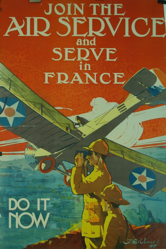 "Many were eager to join the war effort, and war posters were an exciting way to inspire young recruits in World War I.  This 1917 poster, with artwork by J. Paul Verrees, was created to recruit young aviators to serve at the Front, ""Join the Air Service and Serve in France – Do it Now."""