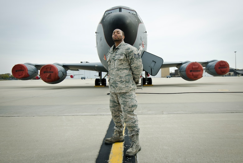 Staff Sgt. Nakoa Moonblood, with the 128 ARW Aircraft Maintenance Squadron, stands for a portrait at the nose of a KC-135 Nov. 29, 2016. (U.S. Air National Guard photo by Master Sgt. Kellen Kroening, 128th Air Refueling Wing Public Affairs)