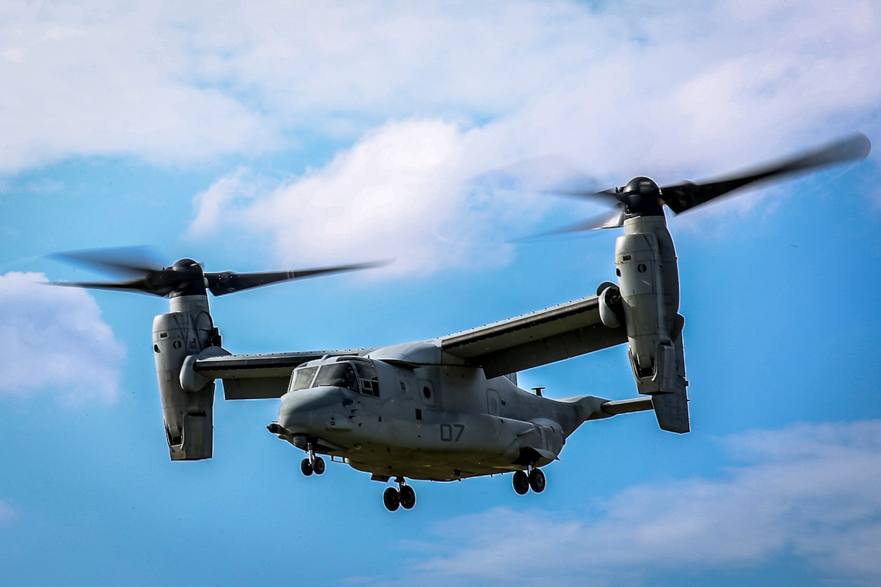 A U.S. Marine Corps MV-22B Osprey take flight after a static display presented by Marines of the 31st Marine Expeditionary Unit to Republic of Korea Marines and sailors on Camp Hansen, Okinawa, Japan, Nov.30, 2016. 31st MEU Marines continue to participate in events with their ROK counterparts to strengthen interoperability and partnerships. (U.S. Marine Corps photo by Lance Cpl. Jorge A. Rosales/released)