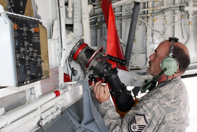 Master Sgt. Mike Kerr, a crew chief with the 191st Maintenance Squadron, connects a fuel hose to a KC-135 Stratotanker at Selfridge Air National Guard Base, Mich., Oct. 2, 2016. Kerr is a member of the Michigan Air National Guard and is assigned to Selfridge. (U.S. Air National Guard photo by Tech. Sgt. Dan Heaton)