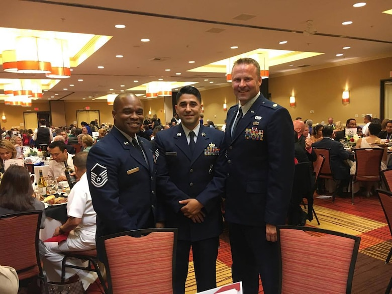 Staff Sgt. Jesus Cazares, 146th Airlift Wing unit training manager, and service members from other services were recognized at the Oxnard Chamber of Commerce Annual Military Appreciation Dinner, September 30. Many local elected officials and 146th AW senior leadersip were also in attendance to help celebrate the service members. (Courtesy Photo)