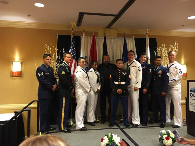 Staff Sgt. Jesus Cazares, 146th Airlift Wing unit training manager, and service members from other services were recognized at the Oxnard Chamber of Commerce Annual Military Appreciation Dinner, September 30. The event is held annually to recognize service members for their outstanding achievements.(Courtesy Photo)