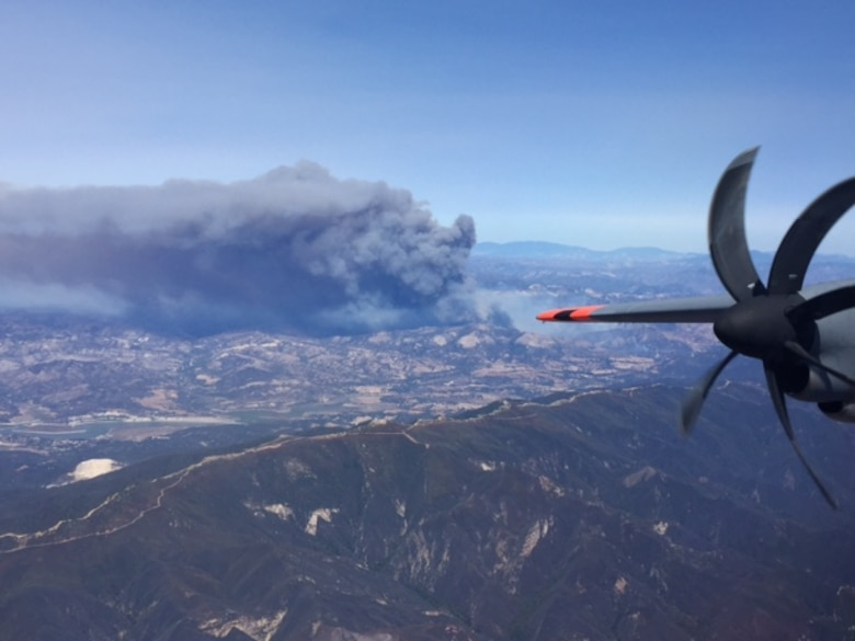 On August 23 a total of 27 drops were made on the Rey Fire, helping firefighters contain the raging flames. Much effort was also spent on the Chimney Fire near Hearst Castle in the San Luis Obispo area before California's MAFFS were closed up on August 30. (U.S. Air National Guard photo by Capt. Sean Smith/Released)