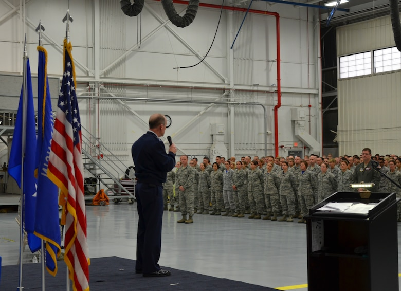 Major General Donald P. Dunbar, Adjutant General of the Wisconsin National Guard, addresses the Airmen of 128th Air Refueling Wing during a formal ceremony presenting the Air Force Outstanding Unit Award Oct. 2, 2016 at General Mitchell Airfield, Milwaukee. This award marks the seventh time the 128 ARW has received the AFOUA in recognition of distinguished meritorious service from Oct. 1, 2014 through Sept. 30, 2015. (Air National Guard photo by Tech. Sgt. Meghan Skrepenski, 128 ARW Public Affairs/Released)