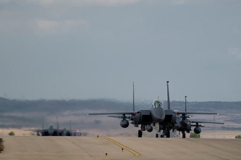 F-15 E Strike Eagles assigned to the 494th Fighter Squadron from Royal Air Force Lakenheath, England, taxi after a sortie in support of Tactical Leadership Programme 16-3 at Los Llanos Air Base, Spain Sep. 26. Training programs like the TLP showcase how the U.S. works side-by-side with NATO Allies and partners every day training to meet future security challenges as a unified force. (U.S. Air Force photo/ Staff Sgt. Emerson Nuñez)
