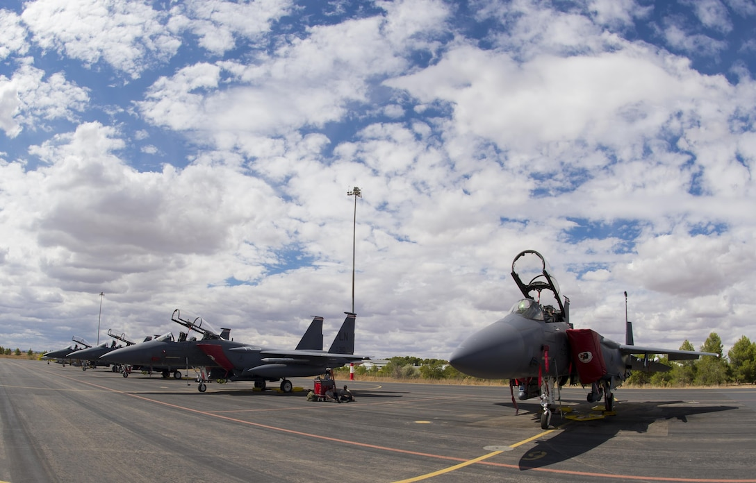 F-15E Strike Eagles assigned to the 494th Fighter Squadron from Royal Air Force Lakenheath, England, sit on the flightline after a day of flying in support of Tactical Leadership Programme 16-3 at Los Llanos Air Base, Spain Sep. 15. The training prepares NATO and allied forces' flight leaders to serve as mission commanders, lead coalition force air strike packages, and provide tactical air expertise to NATO agencies. (U.S. Air Force photo/ Staff Sgt. Emerson Nuñez)
