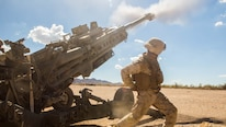Cpl. Eduardo Osorionunez, a field artillery canoneer with 1st Battalion, 11th Marine Regiment, fires the M777 Howitzer during a CH-53 day battle drill exercise at Fire Base Burt, Calif., Oct. 1, 2016. The battle drill was part of Weapons and Tactics Instructor Course (WTI) 1-17, a seven week training event hosted by MAWTS-1 cadre which emphasizes operational integration of the six functions of Marine Corps aviation in support of a Marine Air Ground Task Force. MAWTS-1 provides standardized advanced tactical training and certification of unit instructor qualifications to support Marine aviation Training and Readiness and assists in developing and employing aviation weapons and tactics.