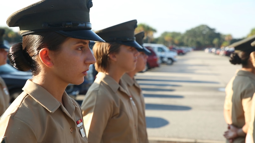 Pfc. Amanda H. Issa prepares for a graduation ceremony Sept. 30, 2016, on Parris Island, S.C. Issa, 21, from Madison Heights, Mich., grew up in Mosul, Iraq, and moved to the U.S. in May 2011. (Photo by Lance Cpl. Carlin Warren)