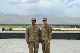 Donn Booker with Maj. Gen. Ed Jackson, USACE Deputy Commanding General for Civil and Emergency Operations, during their tour together in Afghanistan.