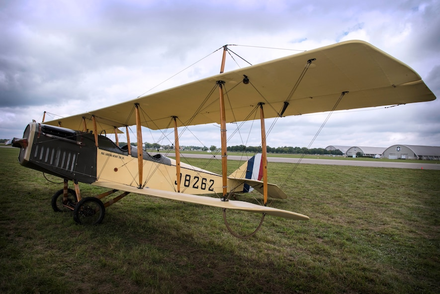 """DAYTON, Ohio -- World War I aircraft took to the skies during the Tenth WWI Dawn Patrol Rendezvous on Oct. 1-2, 2016, at the National Museum of the U.S. Air Force. This aircraft is a Curtiss JN4 Jenny from the non-profit organization """"Friends of Jenny"""", Bowling Green, Kentucky. (U.S. Air Force photo by Ken LaRock)"""